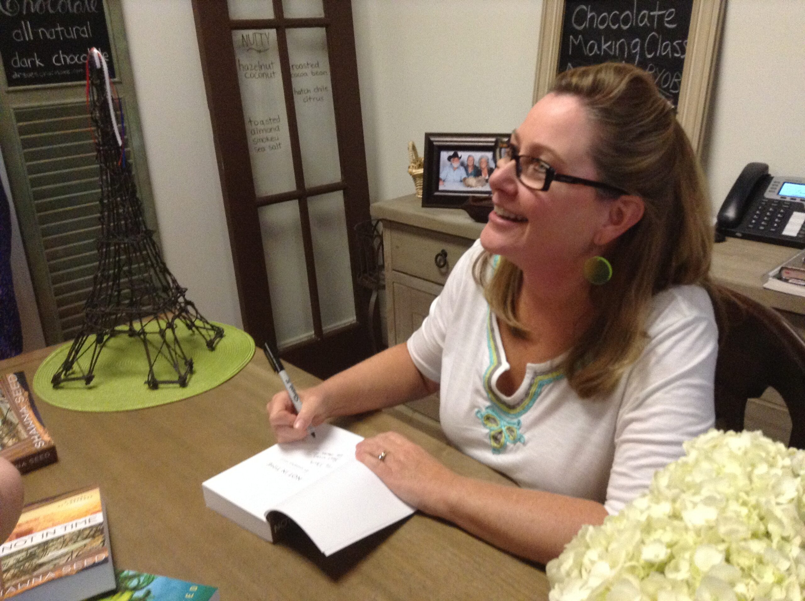 Author Shawna Seed at book signing event for 'Out of Time'